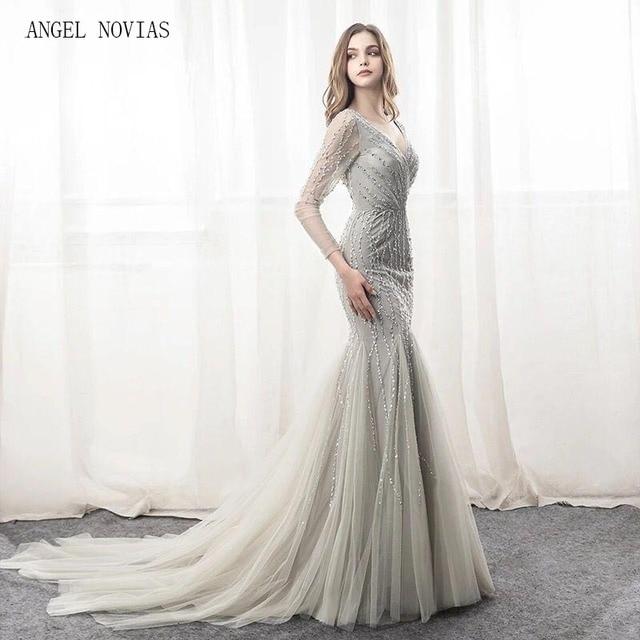 2018 Abendkleider Long Sleeve Mermaid Silver Evening Dresses V ...