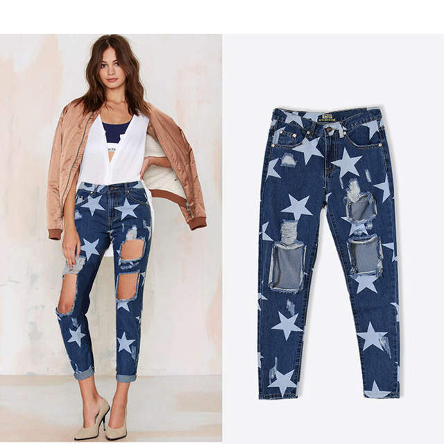 a6e50c6820 Online Shop TREND-SetteR 2018 Summer Big Hole Jeans for Women With  Five-pointed Star Ripped Jeans Light Blue Denim Pants Boyfriend Jeans