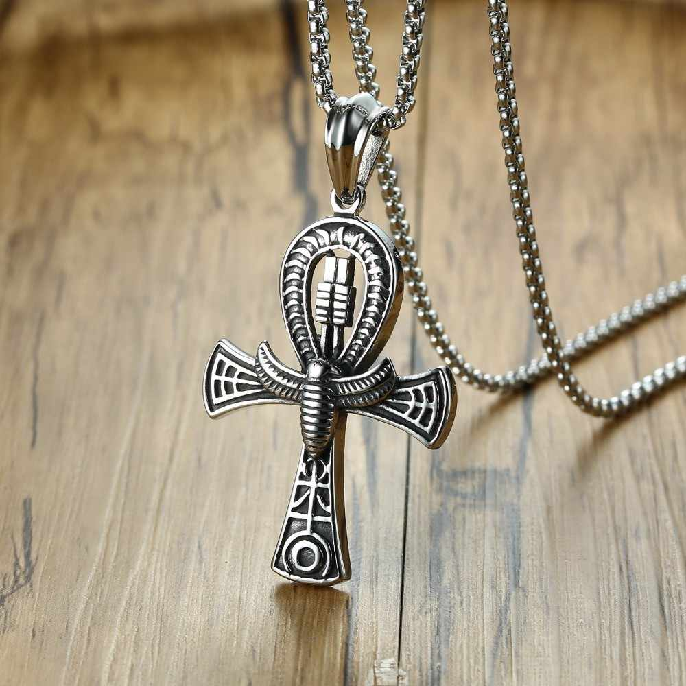 Egyptian Cross of Life Ankh With Scarab Charm Pendant Necklace for Men Stainless Steel the Key of Life Male Jewelry 24""