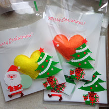Creative 100pcs 10x10cm Christmas Hat Cookies Candy BagSlef-adhesive Biscuit Bag Cookie Bags for Christmas Decoration 5ZHH212(China)