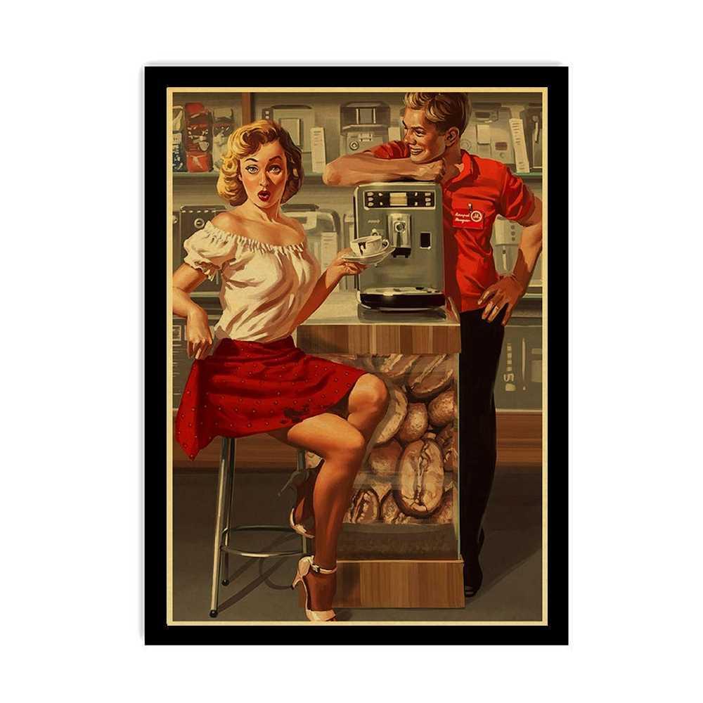 Новая мировая война II сексуальная соблазнительная девушка Vintege плакат домашняя Наклейка на стену в комнату крафт-бумага плакаты и принты художественный Настенный декор