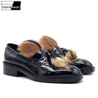 2019 New Fur Black Genuine Leather Loafers Men Slip On Block Chunky Heel Dress Shoes Luxury Business Office Formal Shoes Male