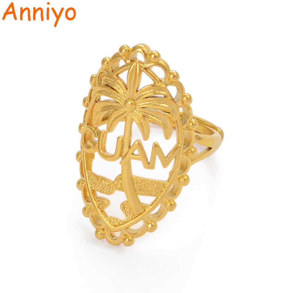 Anniyo Guam Ring for Women Girl Men Gold Color Resizable Openable Ring Ethnic Jewelry Birthday Party Gifts #209406
