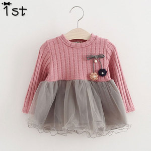 1st 2018 new Spring and Autumn long sleeve for girls Sweater Corsage yarn baby girls dress kids clothes Children's clothing k1