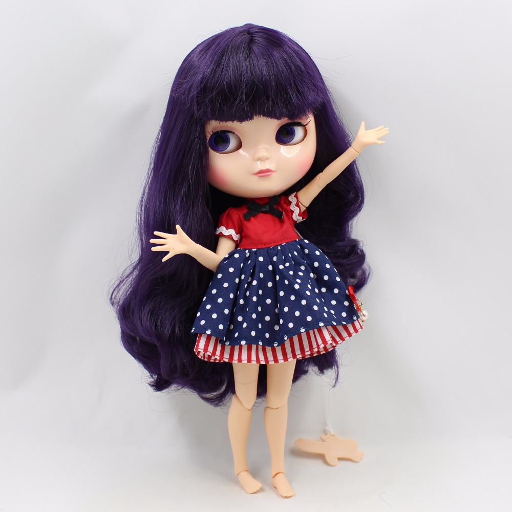 Neo Blythe Doll with Purple Hair, White Skin, Shiny Face & Jointed Azone Body 2