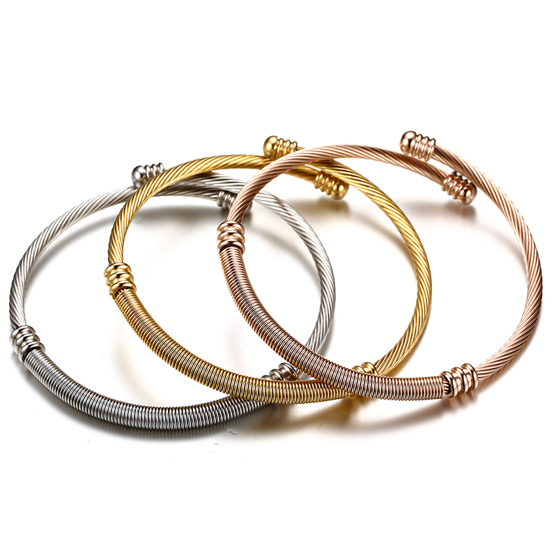 Vnox Stainless Steel Triple Three Cable Wire Twisted Cuff Bangle ...