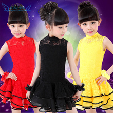 10pcs/lot Free Shipping Lace Kids Ballroom Dance Dress Children Girls Summer Clothes Practice Dancewear Stage Latin Costumes