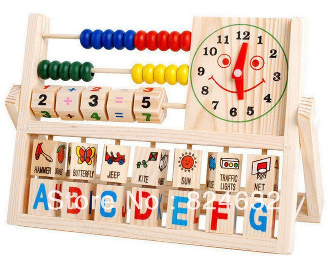 Free shipping children early education Multifunction Learning font b Calculate b font frame wooden toy Puzzle
