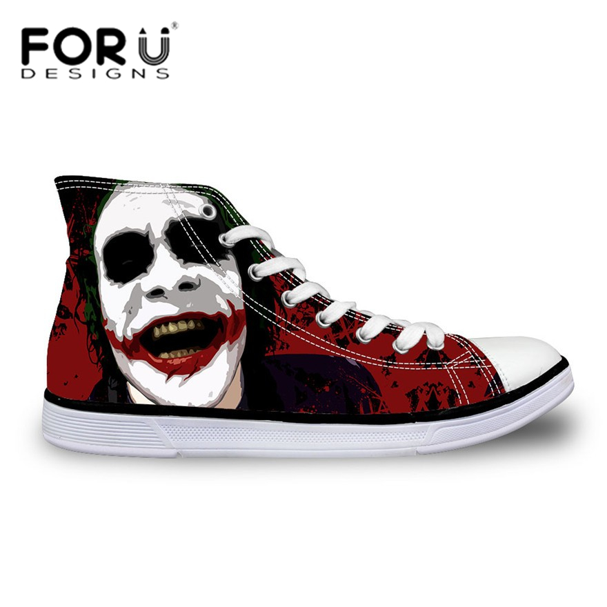 FORUDESIGNS Funny Joker Pattern Men Casual Shoes High Top Cartoon Teenager Boys Sneakers Flats Canvas Shoes Lace-up Breathable forudesigns sneakers geometry dash pattern high top shoes woman classic lace up vulcanize shoes autumn students light mesh flats