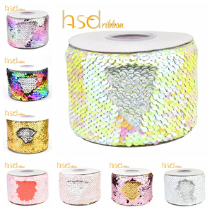 Image 1 - HSDRibbon 3 inch 75mm double color Sequin Fabric Reversible Glitter Sequin Ribbon 25Yards/Roll