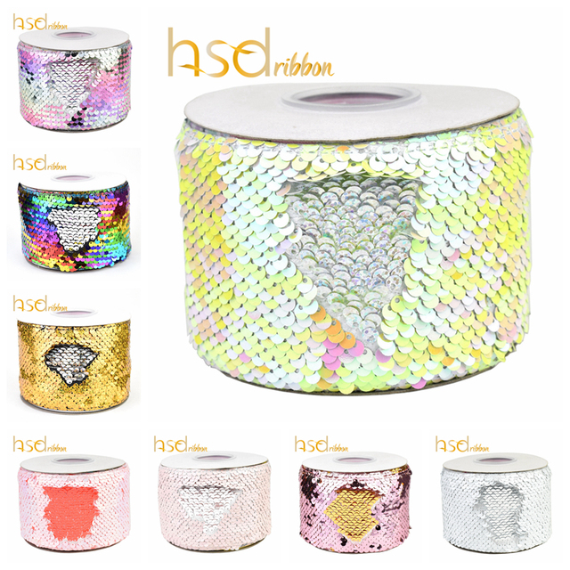 HSDRibbon 3 inch 75mm double color Sequin Fabric Reversible Glitter Sequin Ribbon 25Yards/Roll
