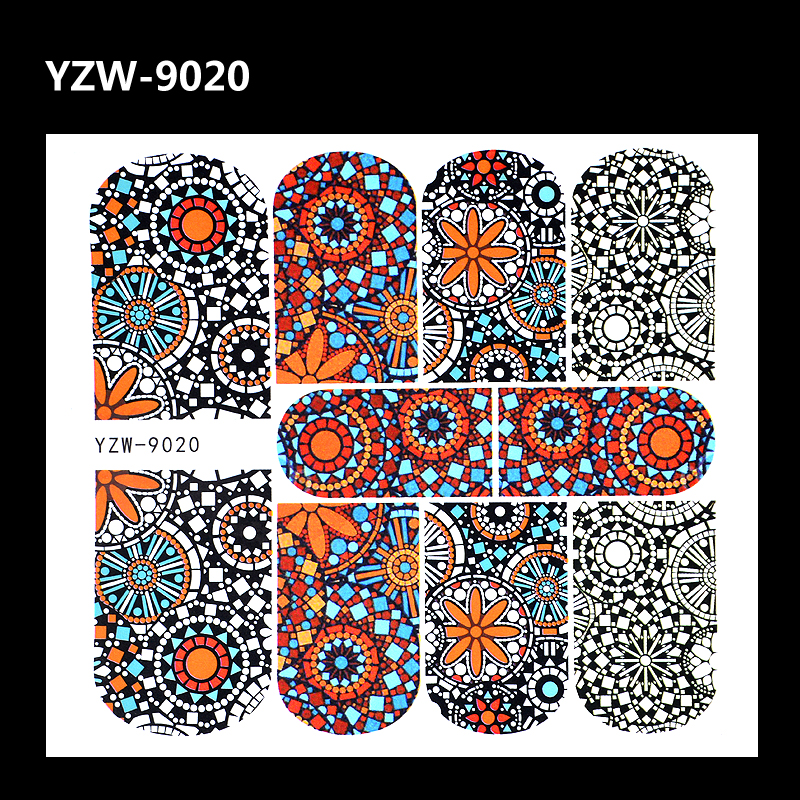 ZKO 1 Sheet Full Cover Nail Tattoo Decal Fashion Colorful Pattern Water Transfer Sticker For Nails Art DIY Manicure Tool 4 packs lot full cover white french smile lace tattoos sticker water decal nail art d363 366w