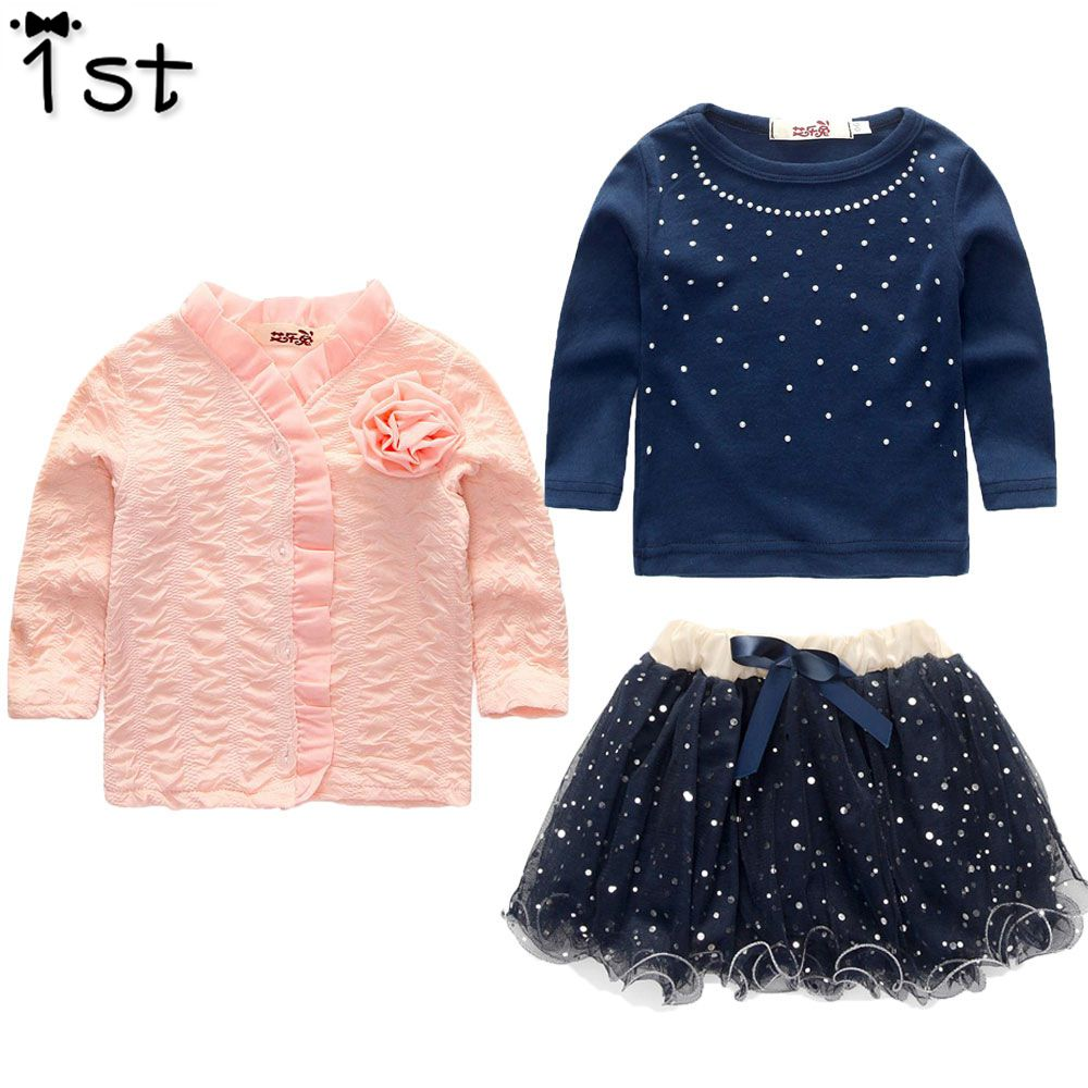 1st 2018 2-6 years Fashion Spring Girls Clothing Set 3 Pieces Suit Girls Plink Flower Coat Blue T Shirt Tutu Skirt Clothes Girls spring girls simple shirt skirt suit child korean fashion two pieces sets kids clothing pink cotton
