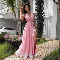 Vestidos De Gala Sexy Side Slit Evening Dresses 2019 Deep V Neck Backless A Line Evening Gowns Pink Formal Party Dress
