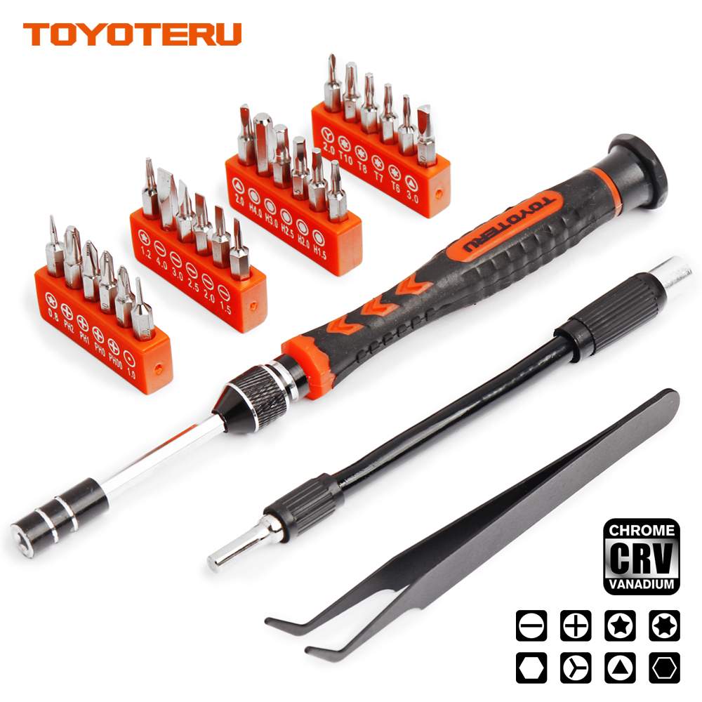 TOYOTERU 28 in 1 Screwdriver Set 24 Magnetic <font><b>Driver</b></font> Kit, Tweezers and Shaft Extension, Professional Electronics Repair Tool Kit image