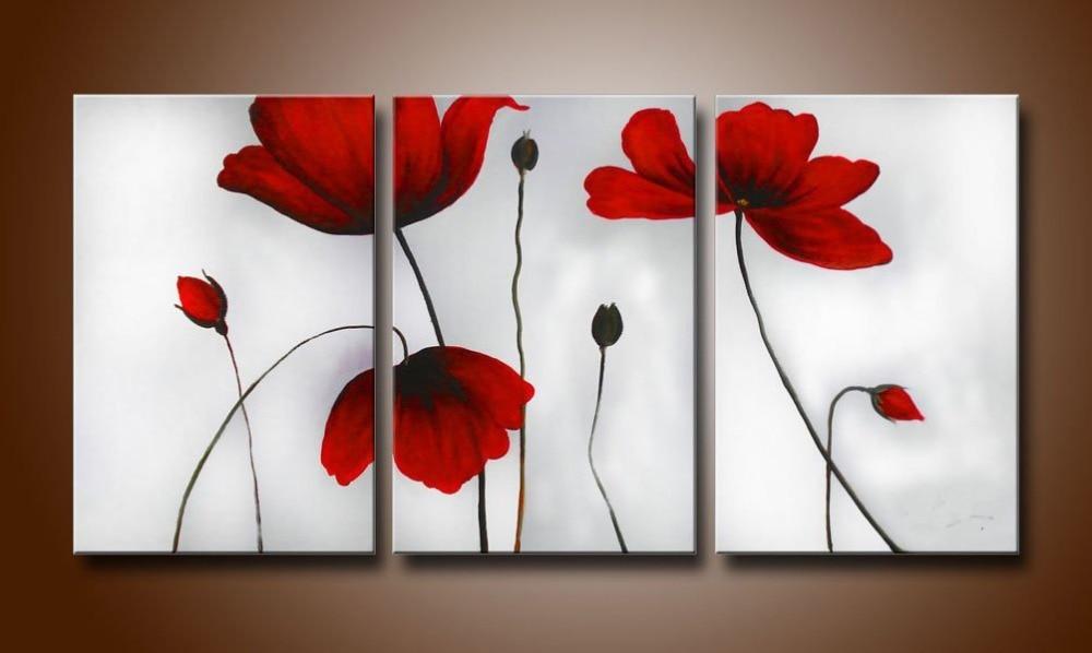 Cherish Art 100% peint à la main peinture à l'huile abstraite Fiery-rouge floraison fleurs 3 panneaux mur Art pour la décoration de la maison