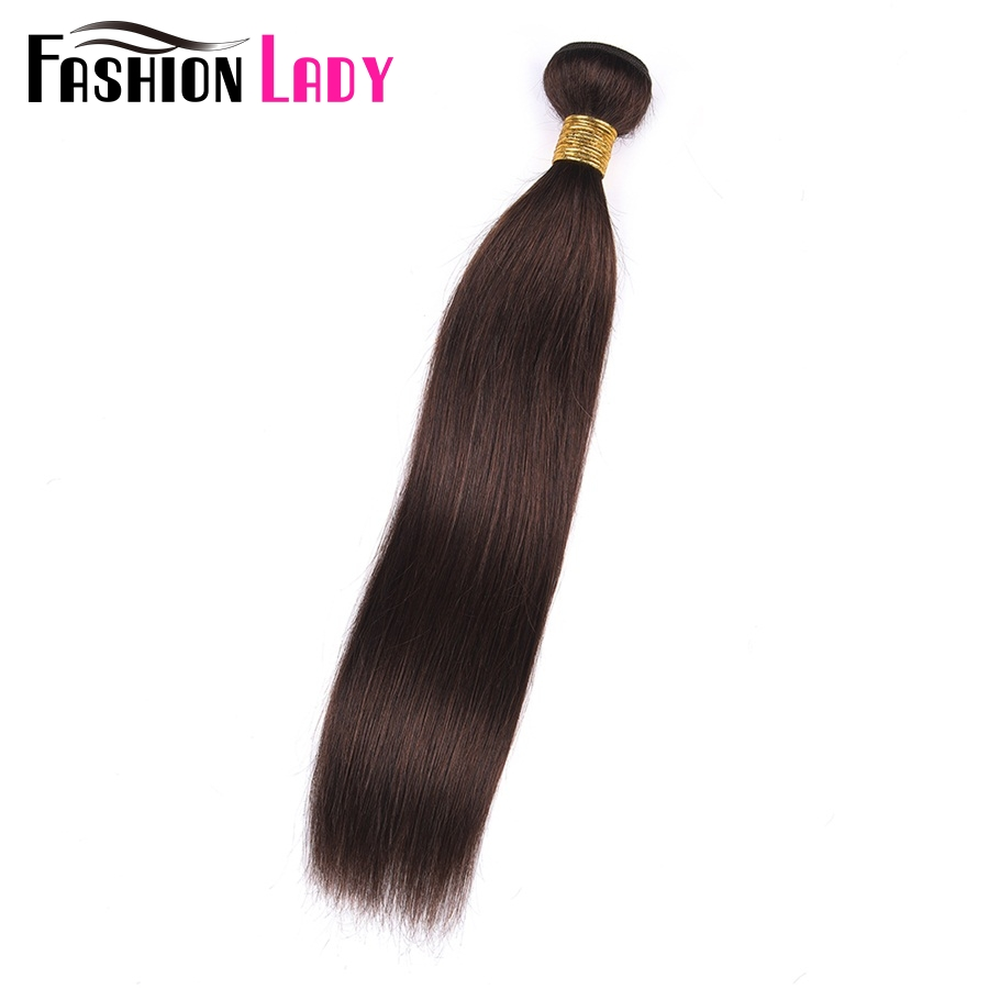 FASHION LADY Pre-Colored Malaysian Straight Hair #2 Dark Brown Human Hair Bundles 1/3/4 Bundle Per Pack Non-Remy
