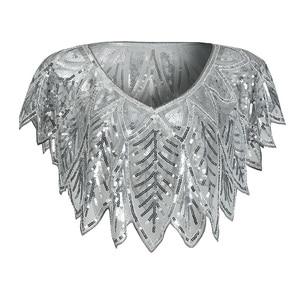 Image 4 - JaneVini Elegant Black Gold Bolero Sparkle Sequined Bridal Wraps Beaded Wedding Cape Shawls Cloak for Evening Party Accessories
