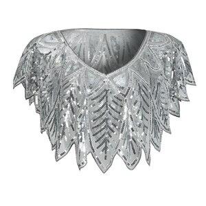 Image 4 - JaneVini élégant boléro en or noir scintillant paillettes enveloppes de mariée perlées Cape de mariage châles Cape pour accessoires de soirée
