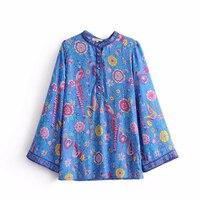 Litfun Spring Summer Blue Cotton Blouse Women Long Sleeves Peacock Floral Print Shirt Vintage Beach Style
