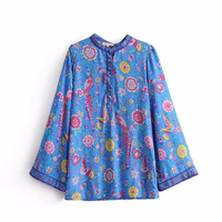 Litfun Spring Summer Blue Cotton Blouse Women Long Sleeves Peacock Floral Print Shirt Vintage Beach Style