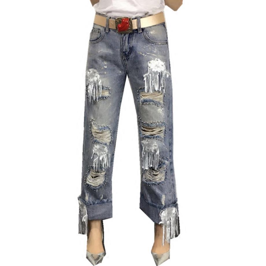De Nueva Vaqueros Mezclilla Pantalones Jean Moda Pierna Ancho Agujero Borla Casual Lentejuelas Con Las Sueltos Mujeres La Ropa Blue dxTvSwT