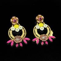 2017 New Geometric Baroque Earrings Inlaid Porcelain Flower Fashion Atmosphere Luxury Catwalk Earrings 398