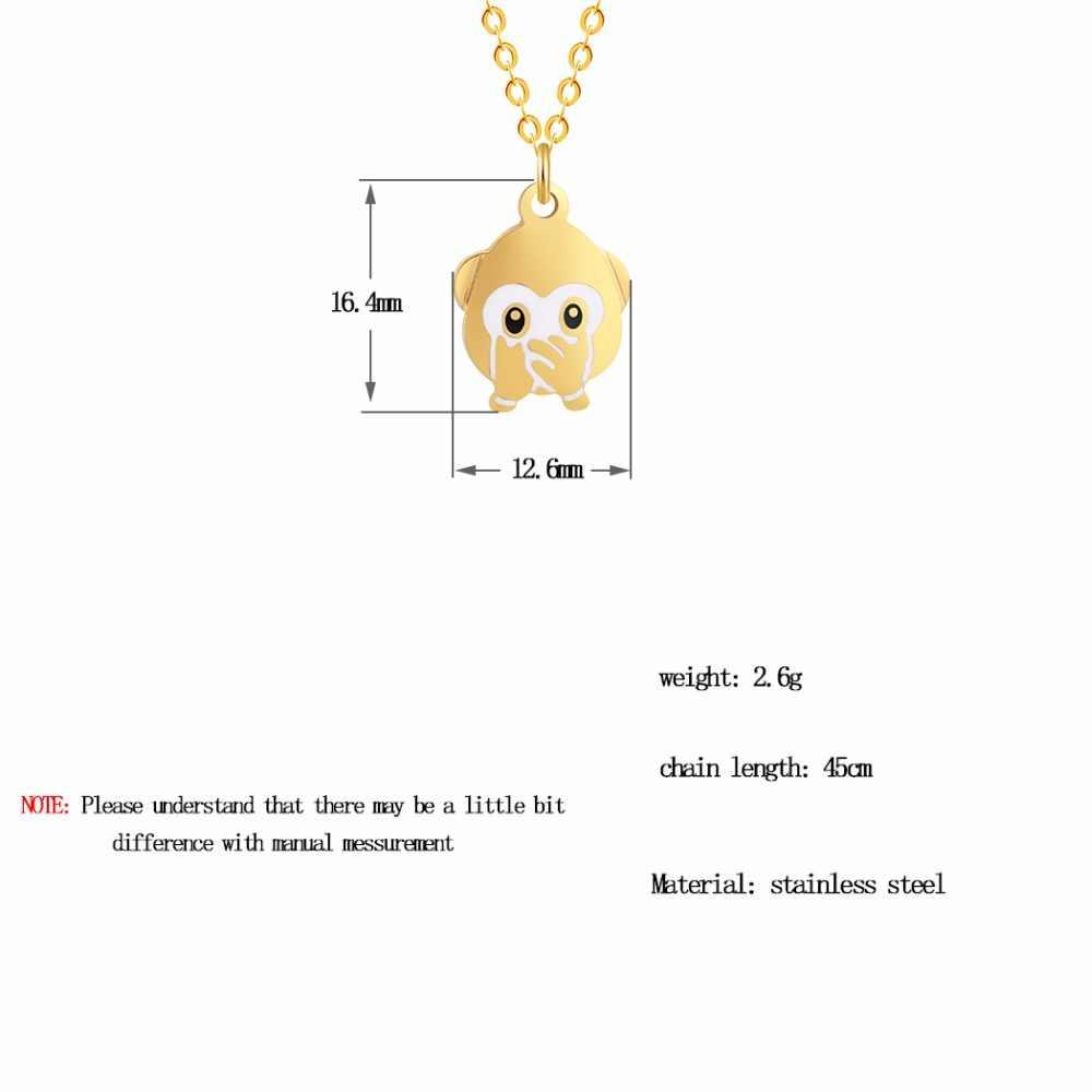 Kinitial милые смайлики обезьяна Подвески Обложка One рот эмоции выражение моды Нержавеющаясталь Цепочки и ожерелья ювелирные изделия