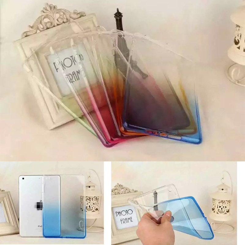 Mix Rainbow Color Translucence Back Case For Apple iPad 6 Air 2 Cover Case Protective Skin for iPad6 Air2 Para Alabasta