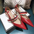 2017 del Resorte Nuevas mujeres 4.5 cm de Tacón Bajo Cómodo Dedo Del Pie Acentuado Bombas de Diseño de Marca Genuinos lLeather Croos Correa Zapatos de tacón alto