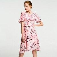 Чистый шелк платья женские летние розовые печати шелковое платье Короткое высокого качества Повседневная элегантная Бабочка рукавом обор