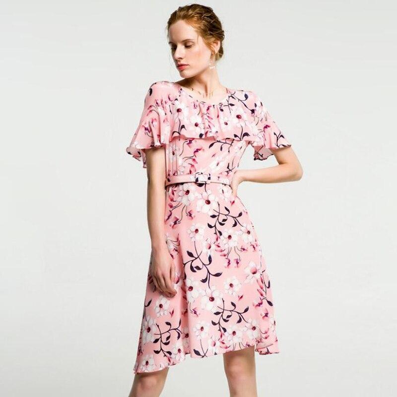 Pure Silk Dresses Women Summer Pink Print Silk Dress Short High Quality Casual Elegant Butterfly Sleeve Ruffles Dress Female