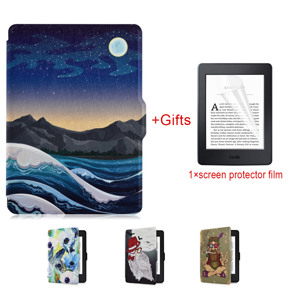 Smart Case for Kindle Paperwhite, eReader Magnet Auto Wakeup/Sleep,Lighted Leather Cover Fit Kindle Paperwhite 2012~2015,K5+Film