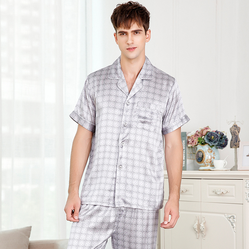 Nightwear Pajama-Sets Sleepwear Silk Summer Print Man Full Pants Short-Sleeve Dot Men