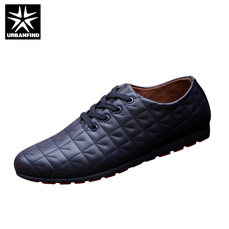 URBANFIND Men Lace-up Casual Shoes Black / White / Blue EU Size 39-44 Brand Fashion Men Leather Footwear For Spring / Autumn new 2017 spring autumn flats men canvas shoes fashion mens casual shoes thick sole classic black white lace up brand th027
