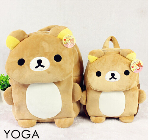 1 PC 26 cm 35 cm dos desenhos animados filme de Rilakkuma urso de pelúcia engraçado mochilas bolsa de ombro bolsa de jardim de infância de brinquedo de presente