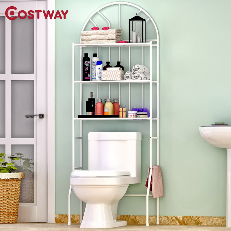 COSTWAY 3 Layer Floor Type Toilet Rack Storage Shelf Holders Racks Saving Space For Bathroom W0193