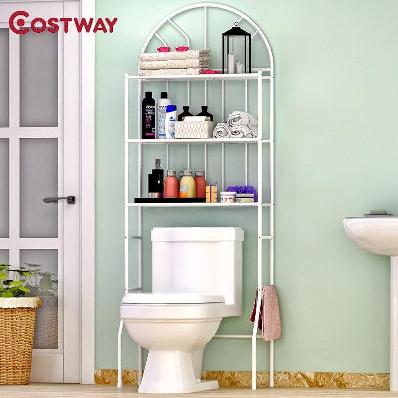 COSTWAY 3-Couche Type De Sol Toilette Rack De Stockage D'étagère Racks Économiser de L'espace Pour Salle De Bains W0193