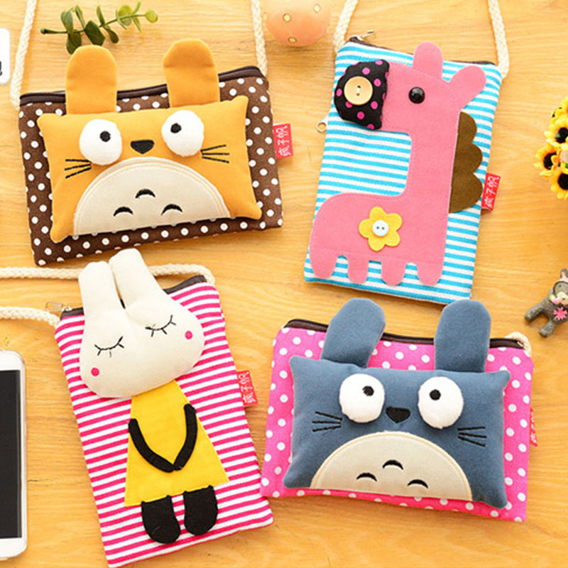 3D Women Canvas Cartoon Small Cute Coin Purse Key Car Phone Pouch Money Bag,Girl's Zipper Kawaii Coin Wallet Mini Messenger Bags