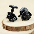 Classic Movie Series Star Wars Darth Vader Mask Cufflinks Trendy Black Jewelry Wedding Gift Free Shipping