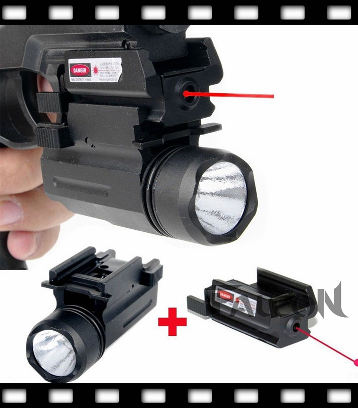 Tactical Mini Adjustable Compact Red Dot Laser Sight Fit For M9 and colt 1911 + LED Flashlight Combo Hunting Laser for Pistol