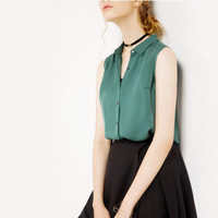 Чистый шелк блузка Для женщин девушки Повседневное твердые зеленый красный блузка без рукавов одежда высокого качества Бесплатная доставк