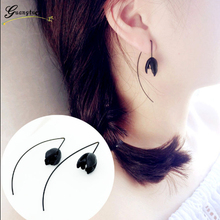 Fashion High Quality Black Flower Ear Line Earrings For Women Girls Jewelry Personality Simple Handmade Bijoux Statement