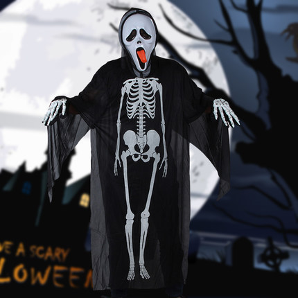 Free shipping ,adult halloween party ghost costumes with Skeleton printing, cosplay clothing, gloves,horror mask