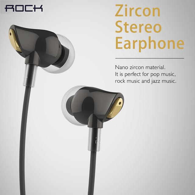 Auriculares para el teléfono móvil rock zircon 3.5mm de lujo del auricular en la oreja los auriculares manos libres de auriculares estéreo con control remoto y micrófono