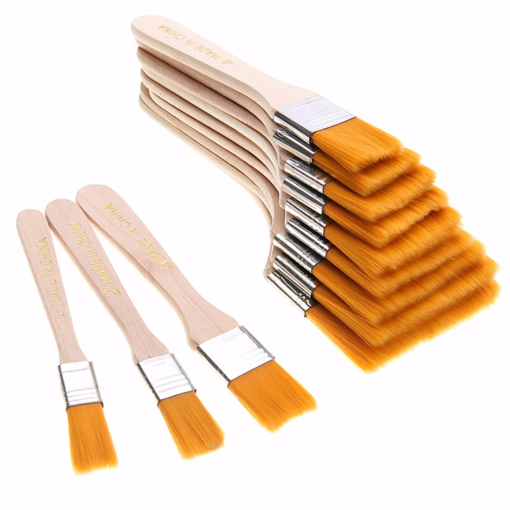 Us 4 92 40 Off 12pcs Wooden Oil Painting Brush Artist Acrylic Panit Art Supply Set Top Painting Tools In Cleaning Brushes From Home Garden On