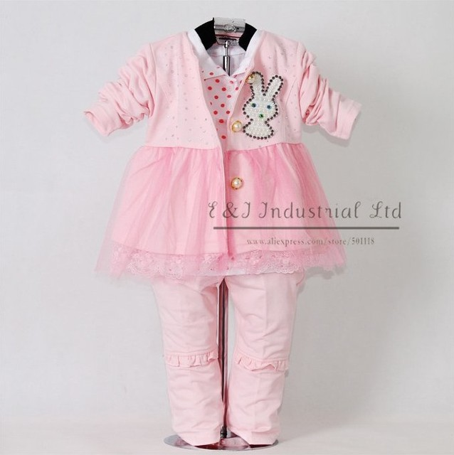 2015 New Autumn Baby Clothes Set 3PCS: Pink Lace Girl Jacket And T Shirt And Kids Trousers With Rabbit Children Garment
