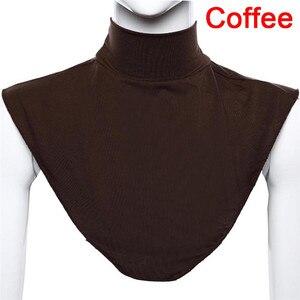 Image 4 - Terokk Vrouwen Modale Valse Kraag Hijab Moslim Islamitische Pure Kleur Hals Cover Loop Sjaal Nep Coltrui T shirt Kraag