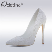 Odetina 2018 Fashion Luxury Woman Sexy Pumps Extreme High Heels Designer Party Evening Wedding Shoes White