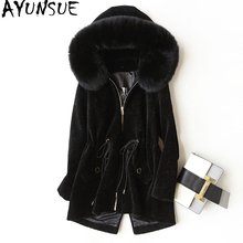 AYUNSUE Fur Coat With Natural Fox Fur Collar Hooded 2018 Winter Jacket Women Lamb Fur